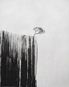 Black and white artwork of a tree, on a cliff edge