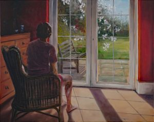 Artwork - a person sits in a chair, looking out of their window