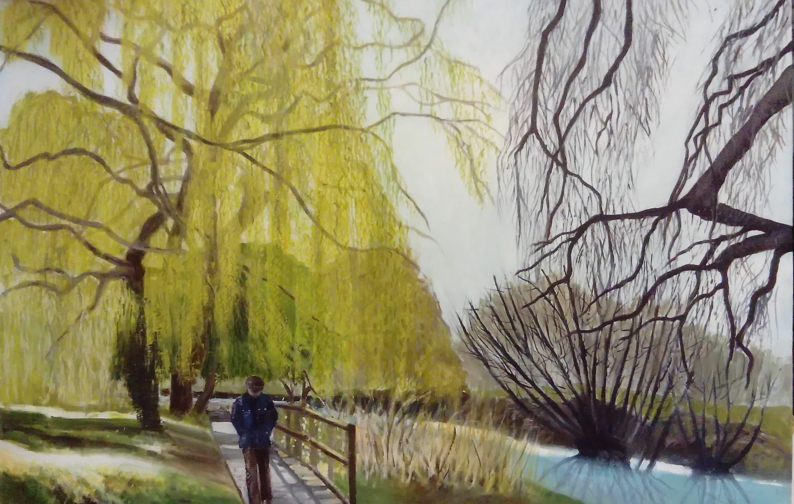 Artwork of a man walking on a bridge