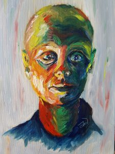 Artwork - self-portrait during chemo by Jo Whiteman