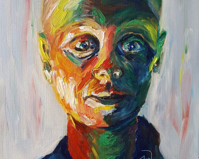 Artwork - self-portrait during chemo by Jo Whiteman