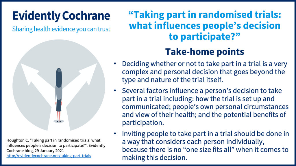 """Deciding whether or not to take part in a trial is a very complex and personal decision that goes beyond the type and nature of the trial itself. Several factors influence a person's decision to take part in a trial including: how the trial is set up and communicated; people's own personal circumstances and view of their health; and the potential benefits of participation. Inviting people to take part in a trial should be done in a way that considers each person individually, because there is no """"one size fits all"""" when it comes to making this decision."""