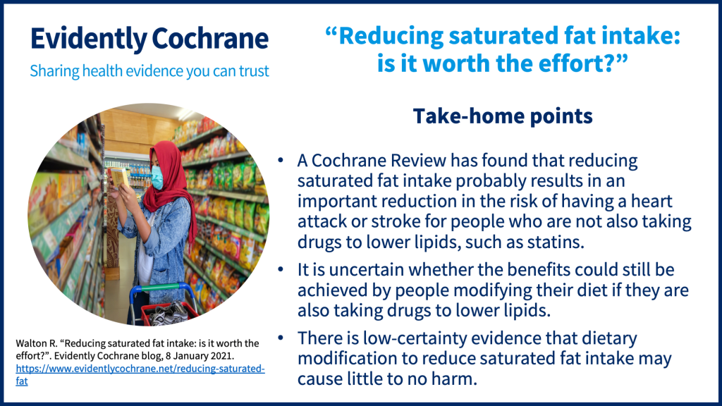 Take-home points: A Cochrane Review has found that reducing saturated fat intake probably results in an important reduction in the risk of having a heart attack or stroke for people who are not also taking drugs to lower lipids, such as statins. It is uncertain whether the benefits could still be achieved by people modifying their diet if they are also taking drugs to lower lipids. There is low-certainty evidence that dietary modification to reduce saturated fat intake may cause little to no harm.