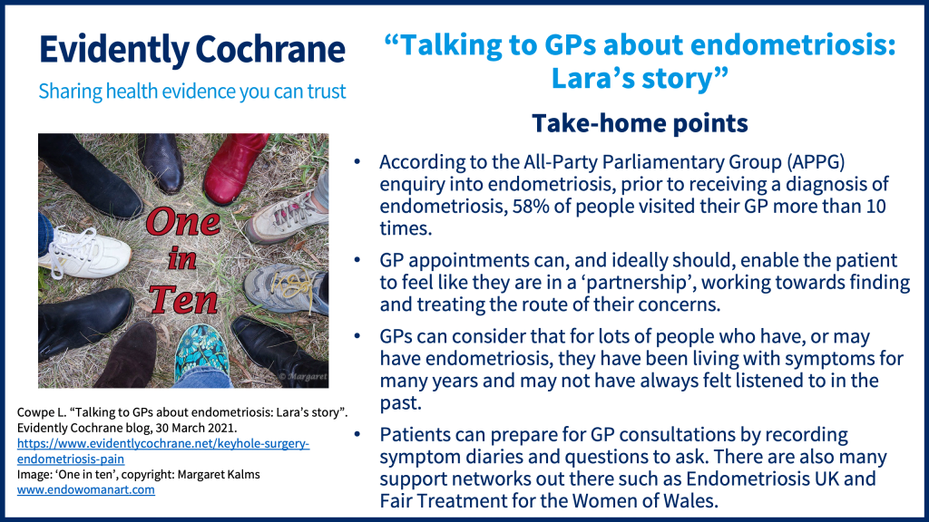 According to the All-Party Parliamentary Group(APPG) enquiry into endometriosis, prior to receiving a diagnosis of endometriosis, 58% of people visited their GP more than 10 times. GP appointments can, and ideally should, enable the patient to feel like they are in a 'partnership', working towards finding and treating the route of their concerns. GPs can consider that for lots of people who have, or may have endometriosis, they have been living with symptoms for many years and may not have always felt listened to in the past. Patients can prepare for GP consultations by recording symptom diaries and questions to ask. There are also many support networks out there such as Endometriosis UK and Fair Treatment for the Women of Wales.