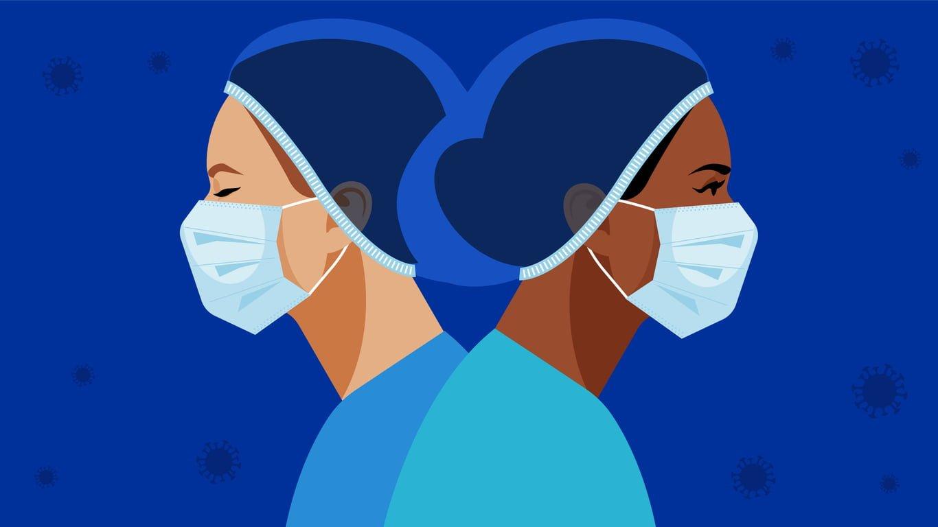 female health workers, nursing, standing back to back wearing masks