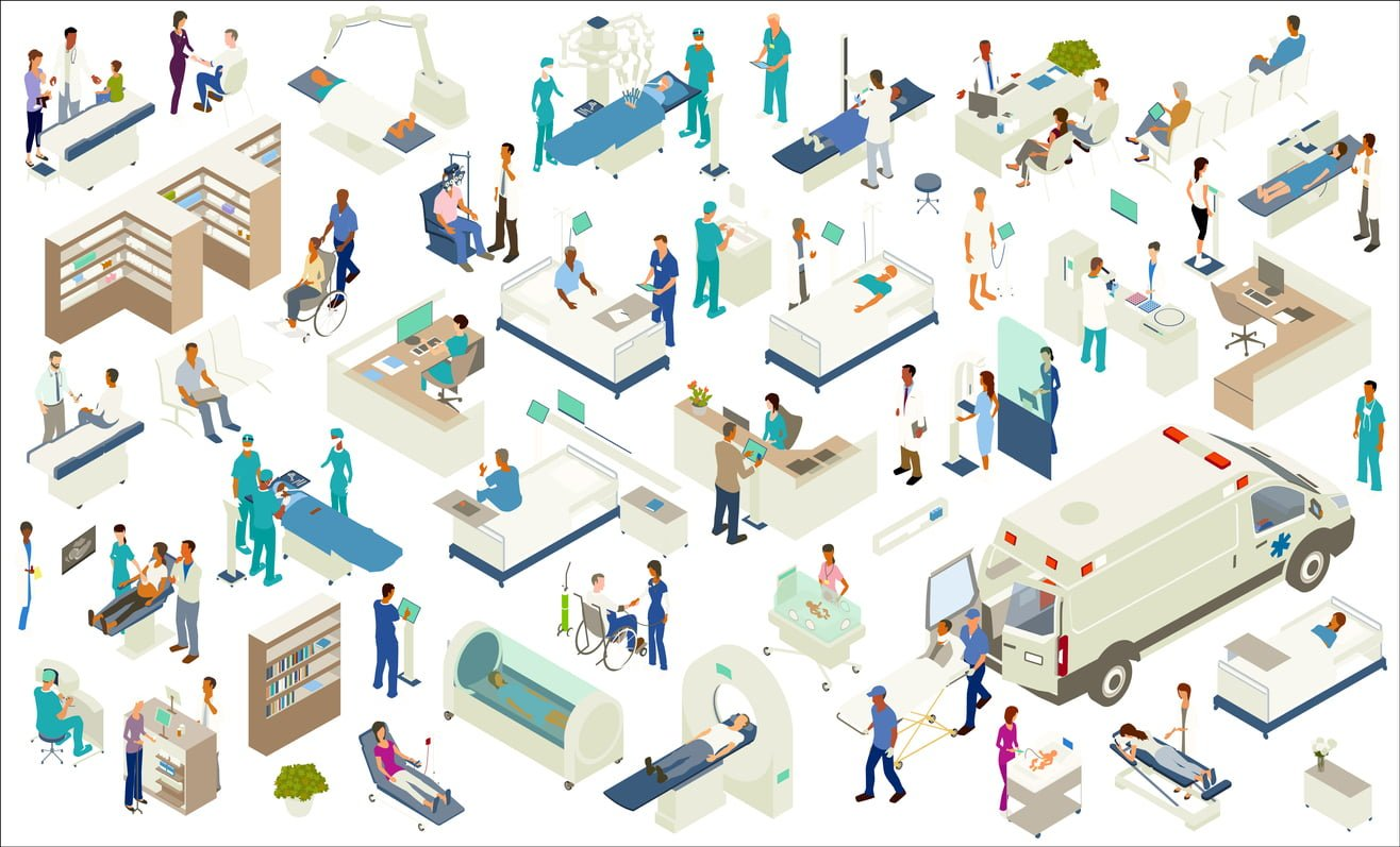 various health professionals, in a hospital setting