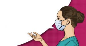 side profile of a female medical professional, with a speech bubble