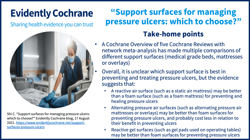 A Cochrane Overview of five Cochrane Reviews with network meta-analysis has made multiple comparisons of different support surfaces (medical grade beds, mattresses or overlays) Overall, it is unclear which support surface is best in preventing and treating pressure ulcers, but the evidence suggests that: A reactive air surface (such as a static air mattress) may be better than a foam surface (such as a foam mattress) for preventing and healing pressure ulcers Alternating pressure air surfaces (such as alternating pressure air mattresses or overlays) may be better than foam surfaces for preventing pressure ulcers, and probably cost less in relation to their benefit in preventing ulcers Reactive gel surfaces (such as gel pads used on operating tables) may be better than foam surfaces for preventing pressure ulcers